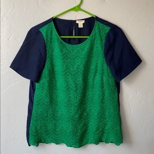 EUC J. Crew Embroidered Lace Front Top
